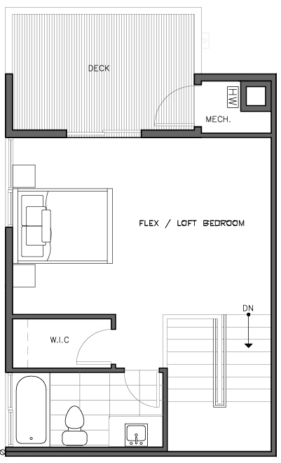 Third Floor Plan of the Korsvika Layout at The Trondheim in Crown Hill