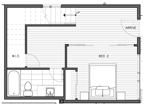 First Floor of the Bakklandet Floor Plan at The Trondheim in Crown Hill
